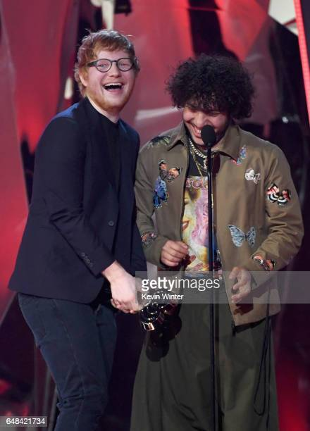 Songwriters Ed Sheeran and Benny Blanco accept Best Lyrics for 'Love Yourself' onstage at the 2017 iHeartRadio Music Awards which broadcast live on...