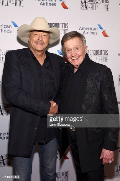Songwriters Hall of Fame Inductees Alan Jackson and Bill Anderson pose backstage during the Songwriters Hall of Fame 49th Annual Induction and Awards...