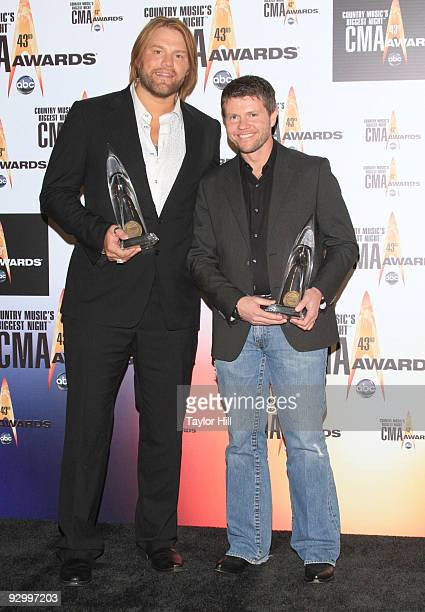 Songwriters James Otto and Lee Thomas Miller pose in the press room at the 43rd Annual CMA Awards at the Sommet Center on November 11 2009 in...