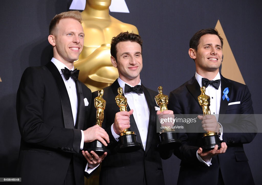 Songwriters Justin Paul, Justin Hurwitz and Benj Pasek, winners of the Best Original Song award for 'City of Stars' pose in the press room at the 89th annual Academy Awards at Hollywood & Highland Center on February 26, 2017 in Hollywood, California.