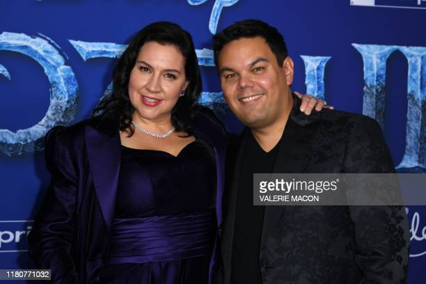 Songwriters Kristen AndersonLopez and Robert Lopez arrive for Disney's World Premiere of Frozen 2 at the Dolby theatre in Hollywood on November 7 2019