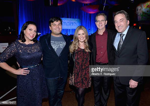 Songwriters Kristen AndersonLopez and Robert Lopez directors Jennifer Lee and Chris Buck and producer Peter Del Vecho attend The Celebration Of The...