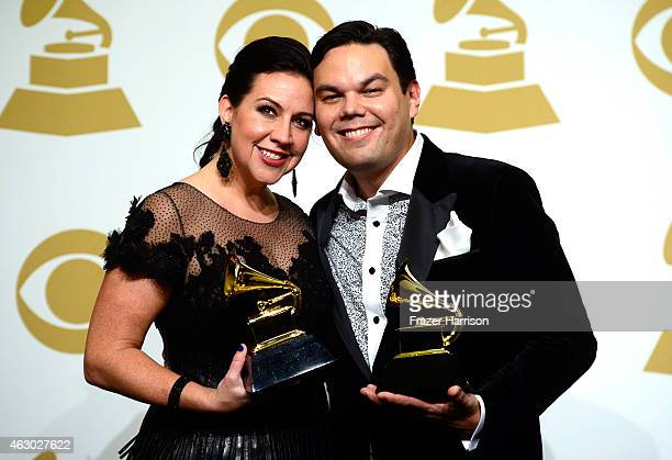 Songwriters Kristen AndersonLopez and Robert Lopez winners of Best Song Written for Visual Media for 'Let It Go' and Best Compilation Soundtrack for...