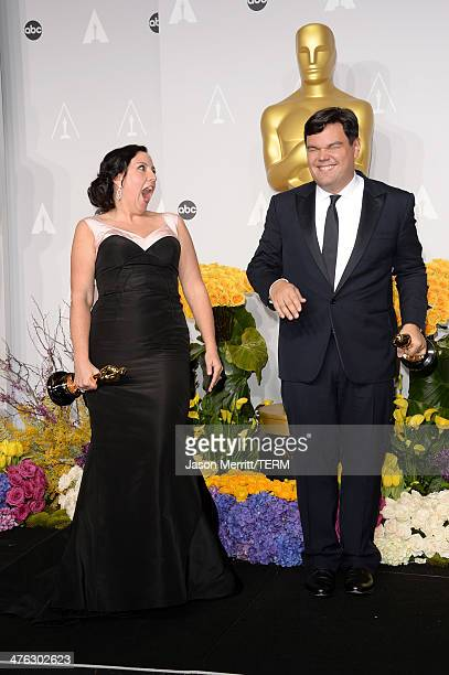 Songwriters Kristen AndersonLopez and Robert Lopez winners of Best Achievement in Music Written for Motion Pictures Original Song pose in the press...