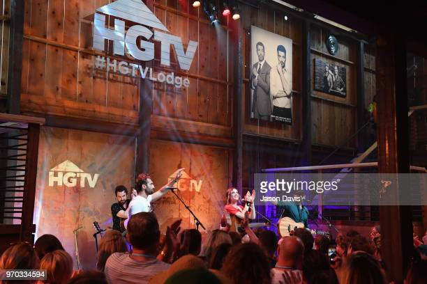 Songwriters Ryan Hurd Jillian Jacqueline and Chris DeStefano perform onstage for the ASCAP Writers Round in the HGTV Lodge at CMA Music Fest on June...