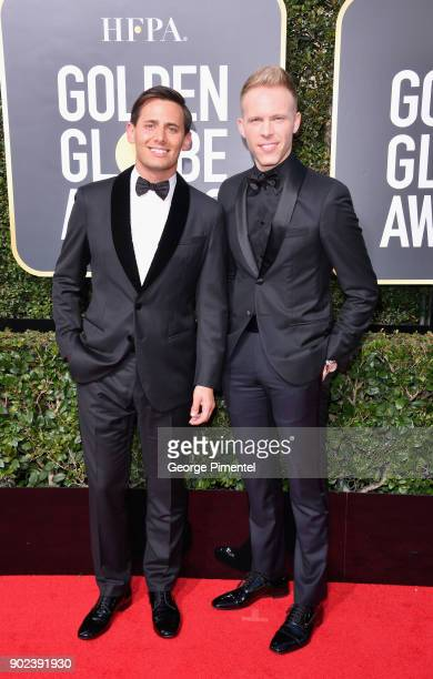 Songwriting duo Benj Pasek and Justin Paul attend The 75th Annual Golden Globe Awards at The Beverly Hilton Hotel on January 7 2018 in Beverly Hills...