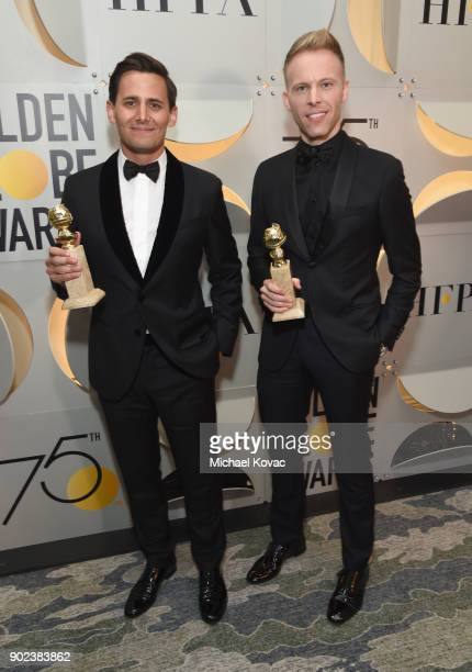 Songwriting duo Benj Pasek and Justin Paul celebrate The 75th Annual Golden Globe Awards with Moet Chandon at The Beverly Hilton Hotel on January 7...