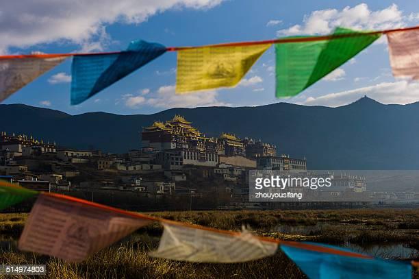 songzanlin temple early morning scenery - songzanlin monastery stockfoto's en -beelden