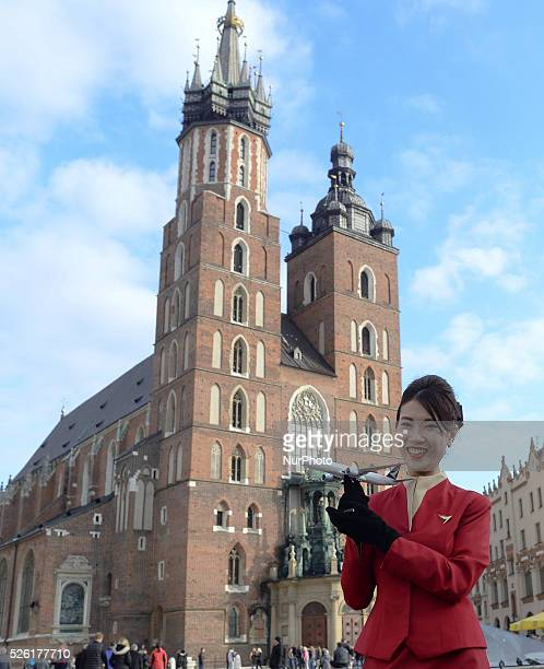 Sonia a member of the Cathey Pacicif airline staff pictured in front of Mariacki Basilika as one of the biggest airline in the world Hong Kong based...