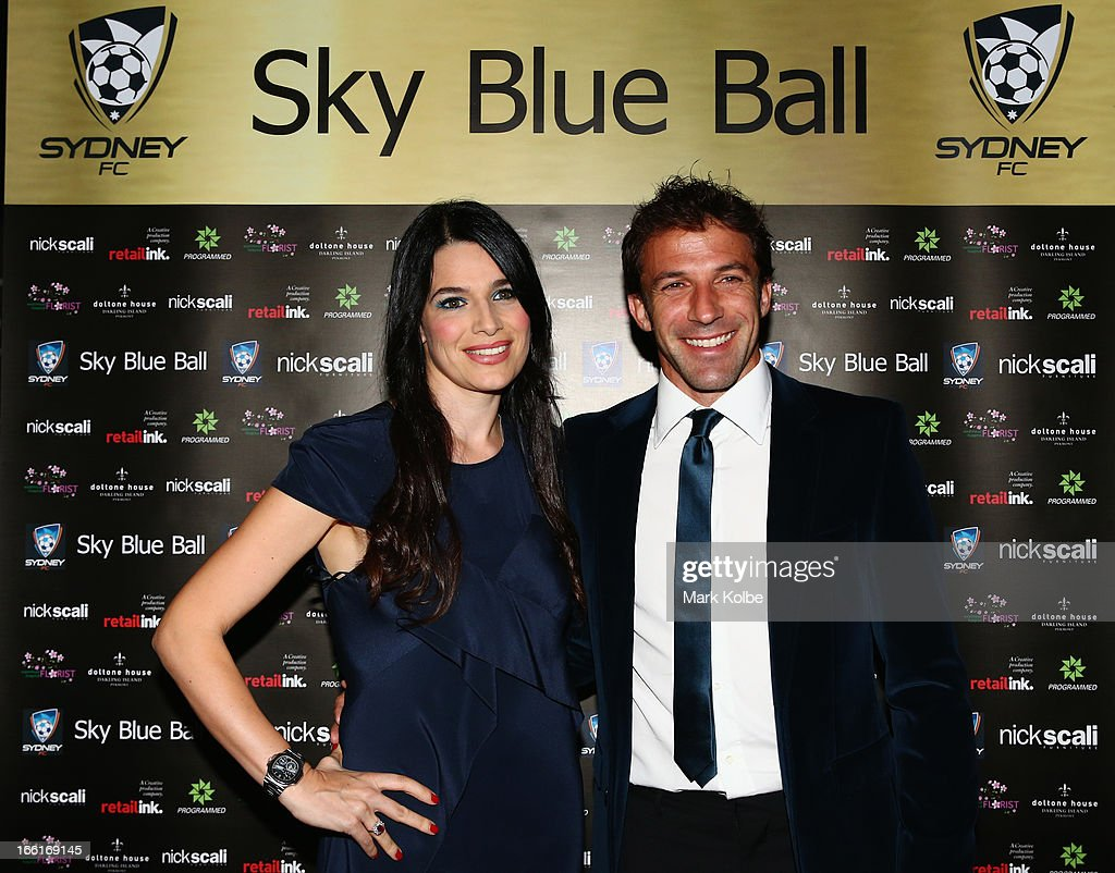 Sonia Amoruso and Alessandro Del Piero pose at the Sydney FC Sky Blue Ball at Doltone House on April 9, 2013 in Sydney, Australia.