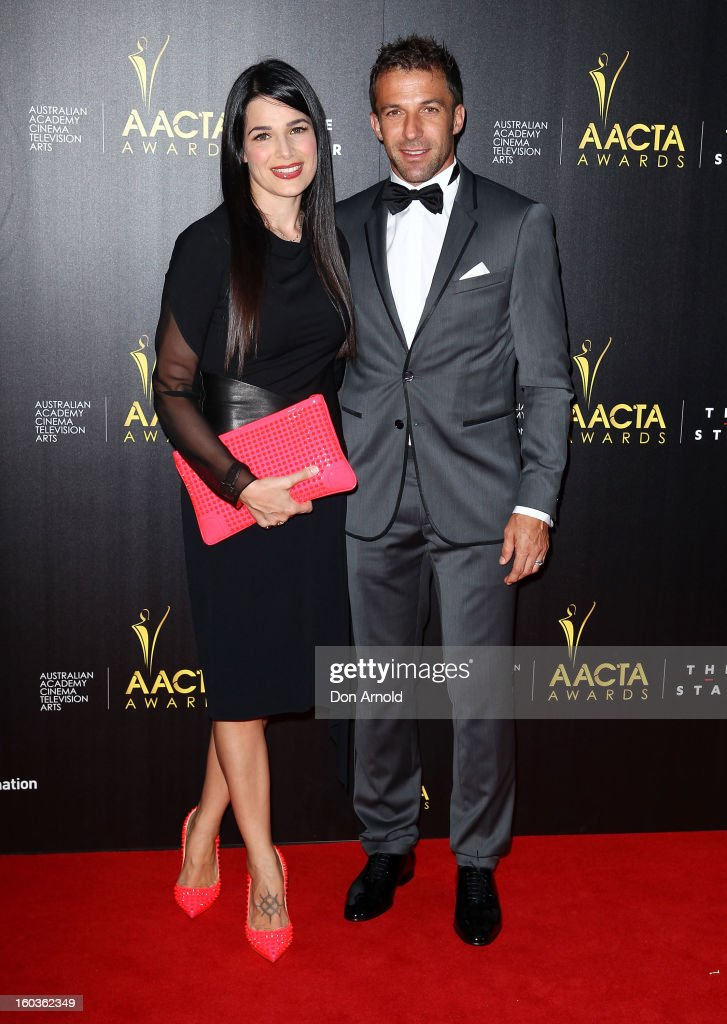 Sonia Amoruso and Alessandro del Pierro arrive for the 2nd Annual AACTA Awards at The Star on January 30, 2013 in Sydney, Australia.