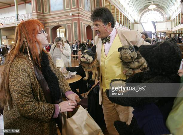Sonia Beggs of Carlton with Antique expert Tim Wonnacott at the BBC's Antiques Roadshow at the Royal Exhibition Building in Melbourne with two...