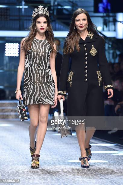 Sonia Ben Ammar and Beata Ben Ammar walk the runway at the Dolce Gabbana show during Milan Fashion Week Fall/Winter 2017/18 on February 26 2017 in...