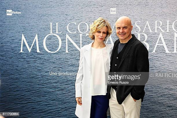 Sonia Bergamasco and Luca Zingaretti attend a photocall for 'Il Commissario Montalbano' at RAI on February 22 2016 in Rome Italy