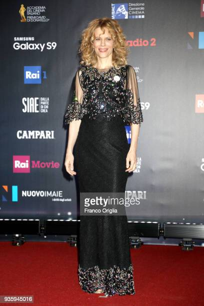 Sonia Bergamasco walks a red carpet ahead of the 62nd David Di Donatello awards ceremony on March 21 2018 in Rome Italy