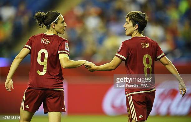 Sonia Bermudez of Spain celebrates scoring her goal with Veronica Boquete during the FIFA Women's World Cup 2015 group E match between Spain and...