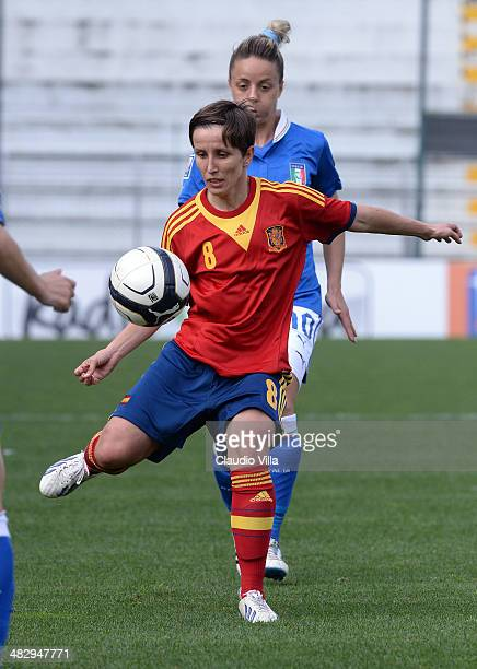 Sonia Bermudez Tribano of Spain in action during the FIFA Women's World Cup 2015 qualifier between Italy and Spain at Stadio Romeo Menti on April 5...