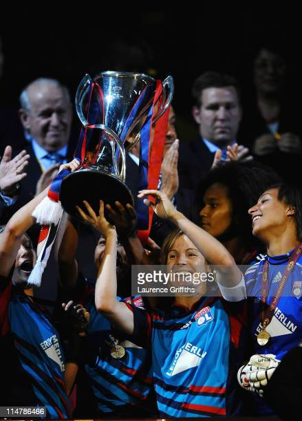 Sonia Bompastor of Lyon lifts the Trophy in celebration after victory in the UEFA Women's Champions League Final between Lyon and Turbine Potsdam at...