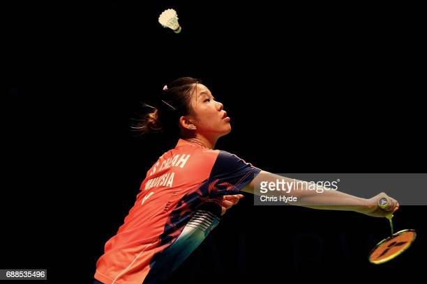 Sonia Cheah of Malaysia competes in her Quarter Final match against Nozomi Okuhara of Japan during the Sudirman Cup at the Carrara Sports Leisure...