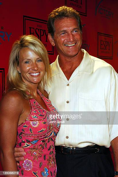 """Sonia Edmonston and Joe Theismann during Tom Brady and ESPN Host """"Fight For Victory"""" Pre-Party for the 12th Annual ESPY Awards at Playboy Mansion in..."""