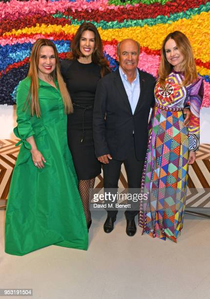 Sonia Falcone Christina Estrada Enrico Giacometti and Magdalena Gabriel attend a private view of On Top Of The World an exhibition hosted by David...