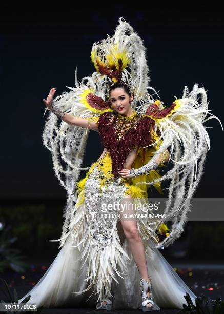 Sonia Fergina Citra Miss Indonesia 2018 walks on stage during the 2018 Miss Universe national costume presentation in Chonburi province on December...