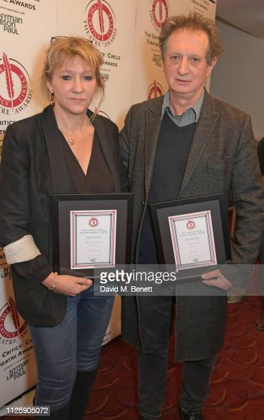 Sonia Friedman accepting the Best Director award on behalf of Stephen Daldry for The Inheritance and David Lan accepting the Best New Play award on...