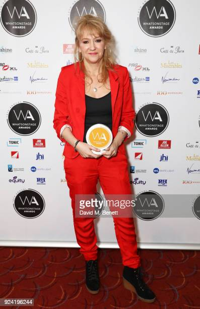 Sonia Friedman accepting the Best Play Revival award for Hamlet poses in the press room at the 18th Annual WhatsOnStage Awards at the Prince Of Wales...