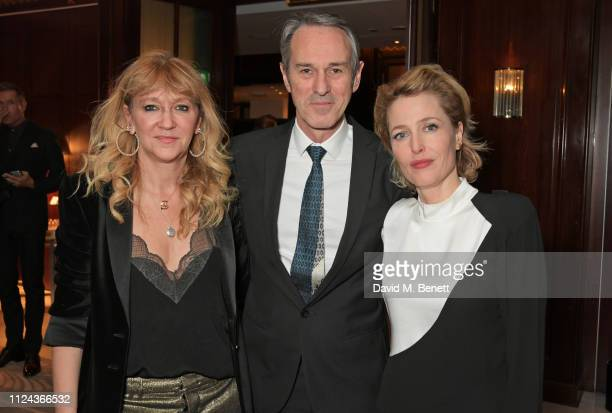Sonia Friedman Ivo van Hove and Gillian Anderson attend the press night after party for 'All About Eve' at The Waldorf Hilton on February 12 2019 in...