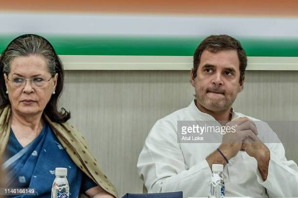 Sonia Gandhi and Rahul Gandhi at the Congress party headquarters to attend the Congress working committee meeting to review the partie's election...