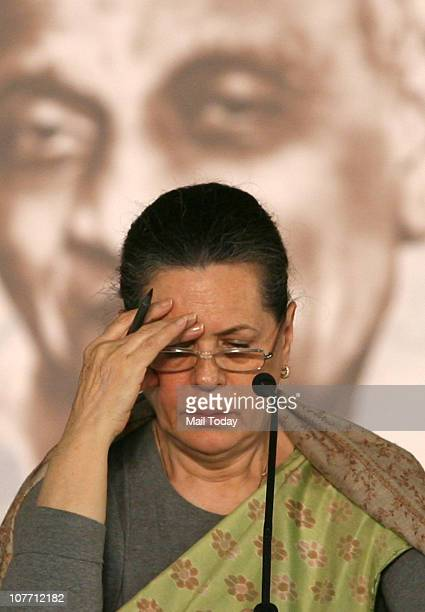Sonia Gandhi during the 83rd plenary session of India's ruling Congress party in New Delhi on December 20, 2010.