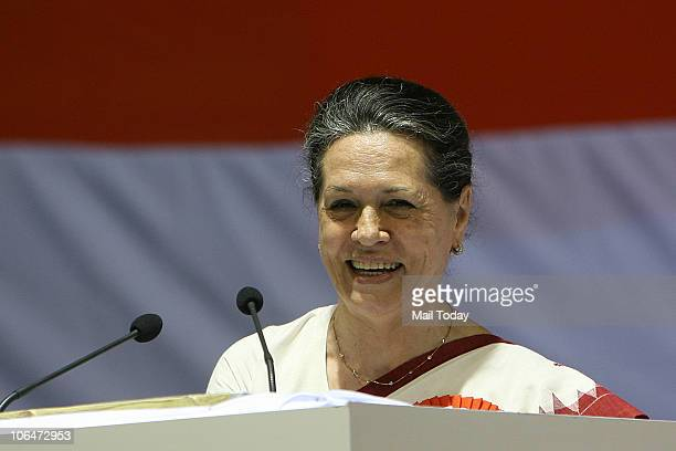 Sonia Gandhi during the Meeting of All India Congress Committee members at Talkatora Stadium in New Delhi on November 2 2010