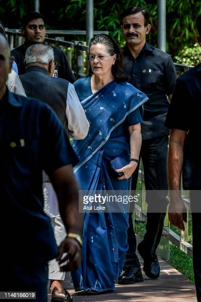 Sonia Gandhi, former party president arrives at the Congress party headquarters to attend the Congress working committee meeting to review the...