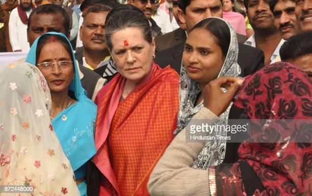 Sonia Gandhi leaving Nagar Panchayat Bhawan at Lalganj Raebareli after inaugurating its new building on Friday