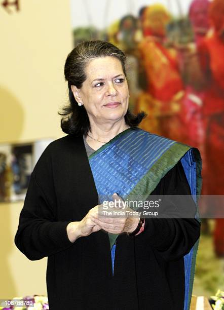 Sonia Gandhi on completion of five years of Mahatma Gandhi NREGA at Vigyan Bhawan on February 2 2011 in New Delhi