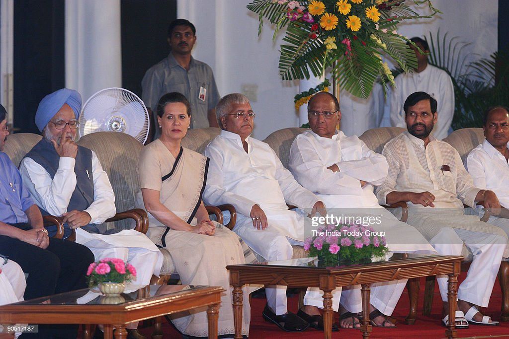 Sonia Gandhi, President of AICC and UPA Chairperson Manmohan Singh ...