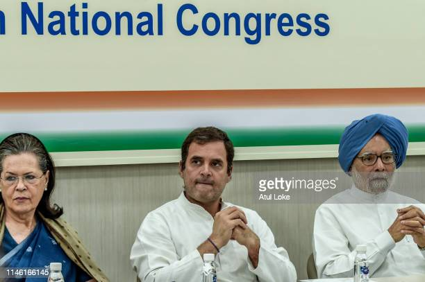 Sonia Gandhi, Rahul Gandhi and former prime minister Manmohan Singh at the Congress party headquarters to attend the Congress working committee...