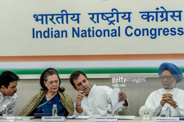 Sonia Gandhi Rahul Gandhi and former prime minister Manmohan Singh at the Congress party headquarters to attend the Congress working committee...