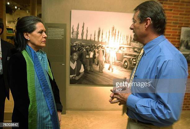 Sonia Gandhi the President of the Indian National Congress and the leader of the ruling Indian Congress Alliance visits 21 August 2007 the Apartheid...