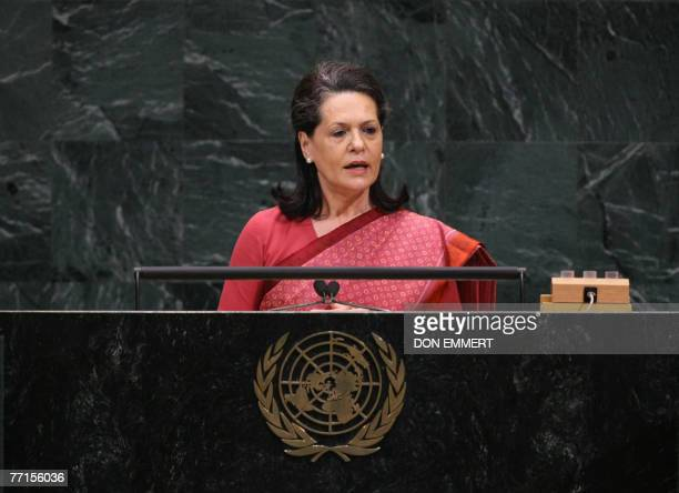 Sonia Gandhi widow of Indian president Rajiv Gandhi and chairperson of the United Progressive Alliance speaks to the informal meeting on...