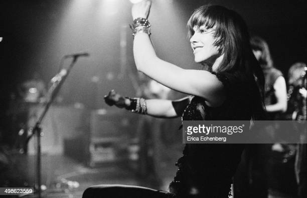 Sonia Kristina of Curved Air performs on stage at The Roundhouse, London, May 1976.