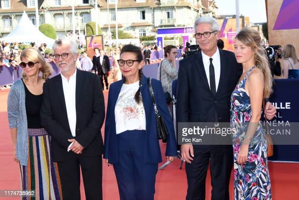 Sonia Kronlund Gerard Lefort Marie Colmant Charles Tesson and Emily Barnett attend the Award Ceremony during the 45th Deauville American Film...