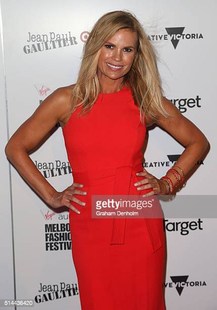 Sonia Kruger arrives ahead of the Jean Paul Gaultier x Target Launch during Melbourne Fashion Festival on March 9 2016 in Melbourne Australia