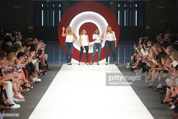 Sonia Kruger Dannii Minogue Jessica Mauboy and Fiona Falkiner showcase designs during the Jean Paul Gaultier x Target Launch during Melbourne Fashion...