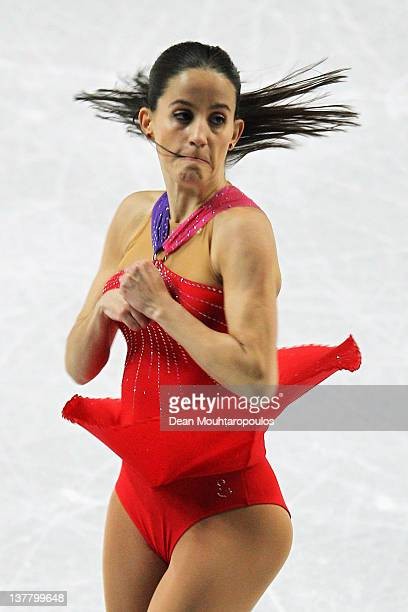 Sonia Lafuente of Spain performs in the Ladies Short Program during the ISU European Figure Skating Championships at Motorpoint Arena on January 27...