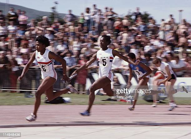 Sonia Lannaman takes the baton from Wendy Clarke in the Women's 4 x100 metres relay event at the European Athletics Cup Semi-Final on 1st July 1979...
