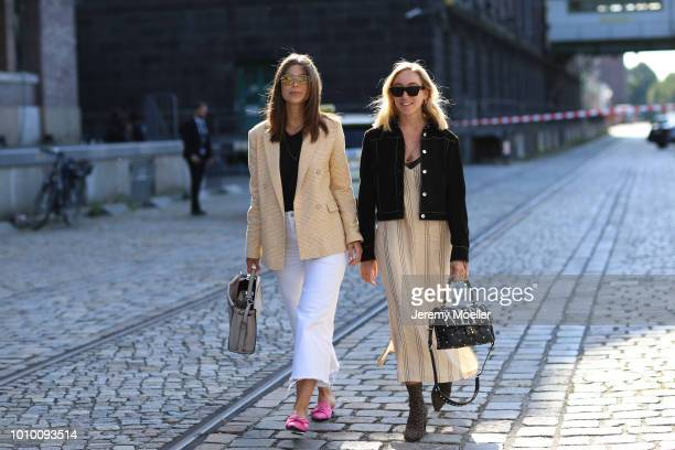 Sonia Lyson and Vicky Heiler wearing during the Berlin Fashion Week July 2018 on July 3 2018 in Berlin Germany