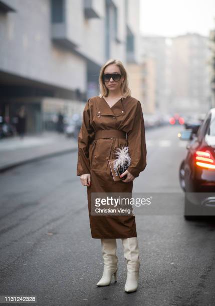 Sonia Lyson is seen wearing brown belted dress outside Max Mara on Day 2 Milan Fashion Week Autumn/Winter 2019/20 on February 21 2019 in Milan Italy