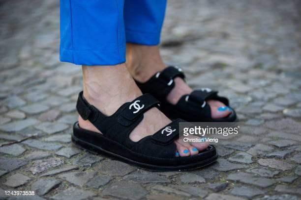 Sonia Lyson is seen wearing Chanel sandals blue Milkwhite pants on June 03 2020 in Berlin Germany