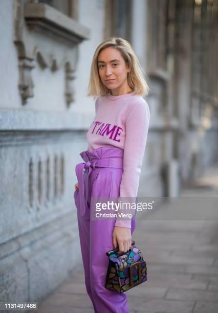 Sonia Lyson is seen wearing shoes Jimmy Choo pink pants Attico Alberta Ferretti jumper Boyy bag on Day 3 Milan Fashion Week Autumn/Winter 2019/20 on...